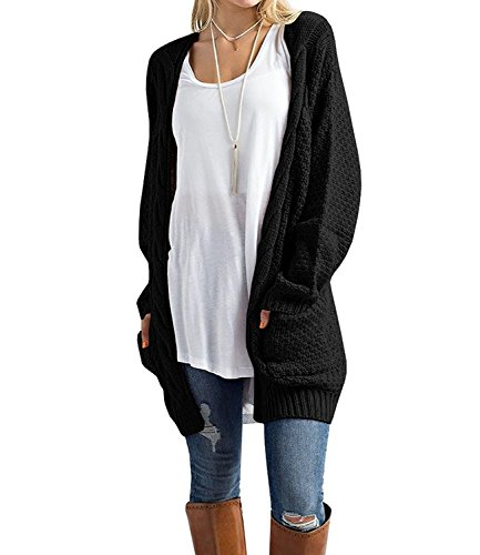 Pop lover Women's Long Sleeve Open Front Cardigans Pointelle Knitted Sweater Blouses Black (Knitted Cardigan)