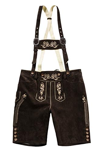 JP 1880 Men's Big & Tall Authentic Real Leather Lederhosen Brown 60 705528 30