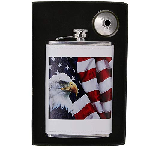 Vastigo - American Flag and Eagle 8 oz Flask - Unique Design w/Soft Touch Leatherette Cover | 18/8 304 Food Grade Stainless Steel (White)