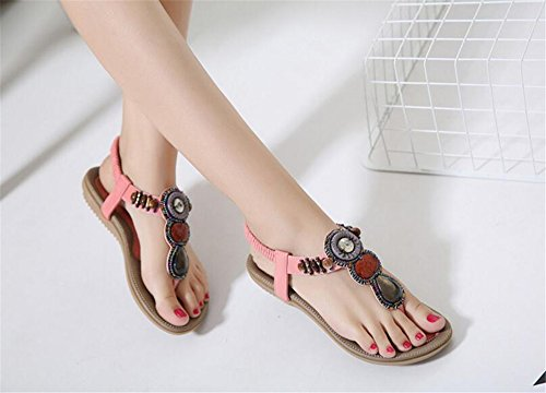 Summer Pink Fashion Flat Shoes Ladies Sandals Sandals Flops Crystal Bohemia Women flip pit4tk Shoes 0dAwWOqO