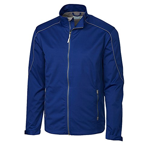 (Cutter & Buck Men's Big and Tall Big & Tall Midweight Softshell Opening Day Jacket, Tour Blue, LT)