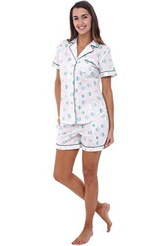 Alexander Del Rossa Womens Cotton Pajamas, Short Button Down Woven Pj Set, Large Striped Polka Dots on White (A0550V26LG)