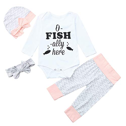 Apparel Layette (Voberry@ Baby Boys Girls Clothes,4Pcs Clothes Bodysuit Romper Set White Layette 0-24 Months Spring/Winter (18-24 Months, White))