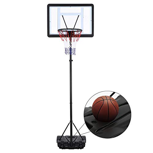 Yaheetech Height-Adjustable Basketball Hoop System Stand Portable Basketball Goal Indoor Outdoor Kids Youth w/Wheels & Weighted Base