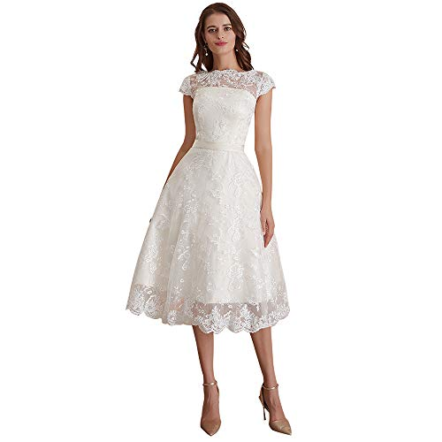 Abaowedding Women's Floral Lace Knee-Length Short Wedding Dress Bridal Gown Size 4 Ivory (Short Lace 3 4 Sleeve Wedding Dress)