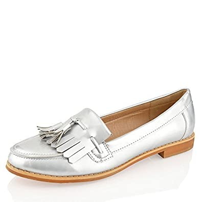 4ed231c6b73a Womens Girls Office Fringe Tassel Loafers Flat Casual School Work Shoes Size   Amazon.co.uk  Shoes   Bags