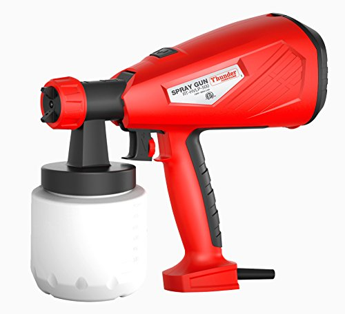 - HVLP 500W Advanced Hand Held Electric Spray Gun with Three Spray Patterns, Two Nozzle Sizes and 800ml Detachable Container, Paint Sprayer with Adjustable Valve Knob and Replaceable Air Filter