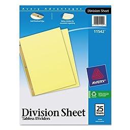 Avery Division Sheet Dividers, 25-Divider Set (11542)