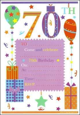 Image Unavailable Not Available For Colour 70th Birthday Party Invitations