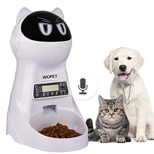 WOpet Pet Feeder,Automatic Cat Feeder Pet Food Dispenser Feeder Medium Large Cat Dog——4 Meal, Voice Recorder Timer Programmable,Portion Control (White)