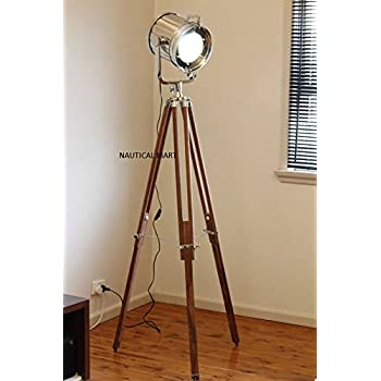 DESIGNER CHROME VINTAGE INDUSTRIAL TRIPOD FLOOR LAMP NAUTICALMART SPOT LIGHT FLOOR LAMP