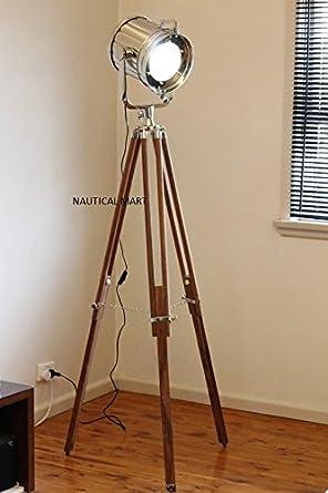 DESIGNER CHROME VINTAGE INDUSTRIAL TRIPOD FLOOR LAMP NAUTICALMART SPOT LIGHT FLOOR LAMP