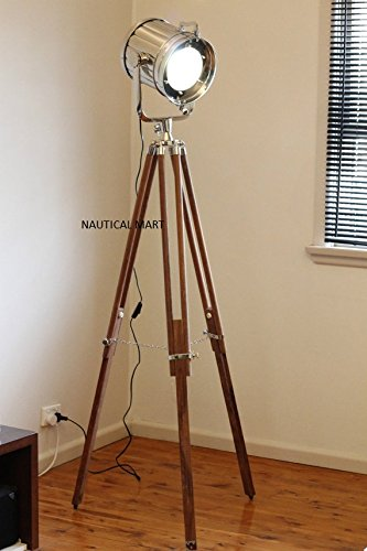 DESIGNER CHROME VINTAGE INDUSTRIAL TRIPOD FLOOR LAMP NAUTICALMART ...