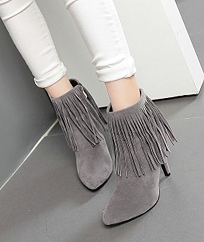Aisun Womens Elegant Fringed Pointed Toe Dress Side Zipper Stiletto High Heel Booties Shoes Gray uzw6nSvPY
