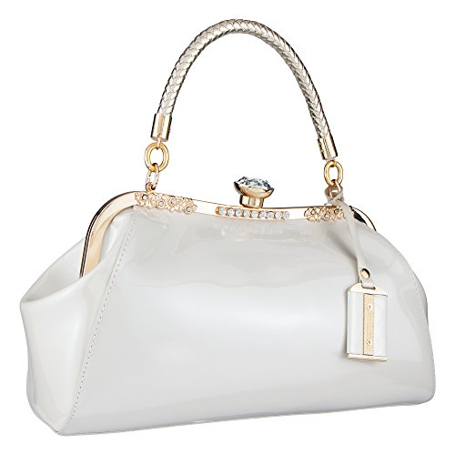 Bagood Women's Patent Leather Glossy Shell Handbag Clutches Shoulder Evening Bags for Party (White Patent Bag)