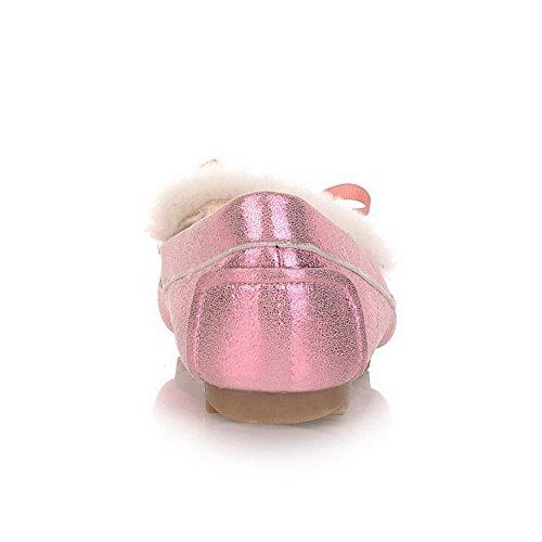 Voguezone009 Femmes Fermé Cuir Plastique À Bout Rond Givré Pompes Solides Avec Bowknot, Rose, 2,5 Uk