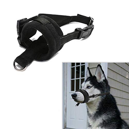 Akarden Dog Muzzle, Gentle Muzzle Guard, Comfort Secure Anti-Barking Muzzles for Dog, Breathable and Adjustable, Allows Drinking and Chewing,Pet Muzzles Dogs (Black) (M)