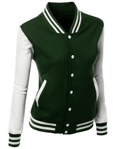 (Stylish Fabric Baseball Jacket Green M)