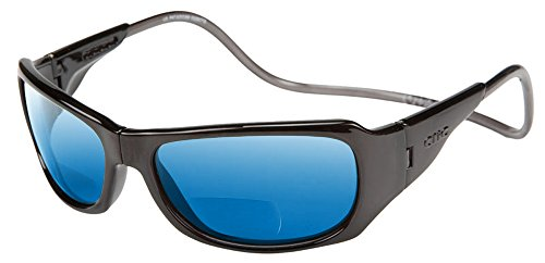Clic Monarch Polarized Bi-Focal Reading Sunglasses in Black with Blue Mirror Lens - Sunglasses Clic