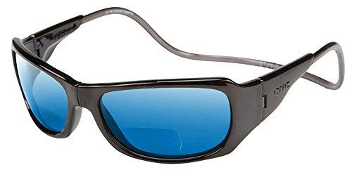 Clic Monarch Polarized Bi-Focal Reading Sunglasses in Black with Blue Mirror Lens - Sunglasses Model In
