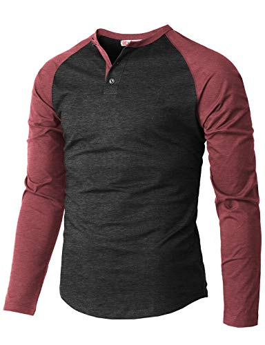 H2H Men's Casual Slim Fit Henley Shirt Long Sleeve Lightweight Cotton T-Shirts Maroon US 2XL/Asia 3XL - Long Striped Shirt Henley Sleeve