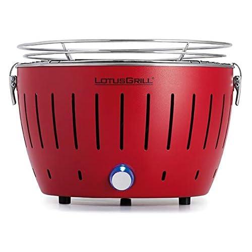 LotusGrill Small Kompakt Feuerrot der raucharme Holzkohle-Tischgrill in verschiedenen Farben Stromversorgung via USB-Anschluß oder Powerbank Für Camper Wanderer und auf dem Boot geeignet