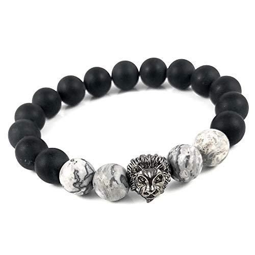 Ballari Mens Lion Head Onyx Bracelet, 10mm Onyx Gemstone Bead Bracelet for Men, Lion Bead Bracelet, Root Chakra Healing Bracelet for Men (Bead Bracelet Bali)