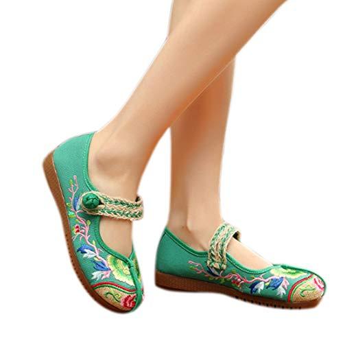 À Motifs Pour Muchao Caoutchouc En Vert Chaussures Floraux Femmes Semelles 5nT0rgW0