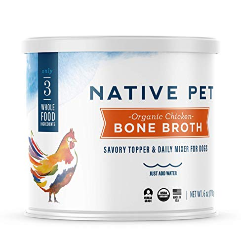 Native Pet Organic Bone Broth for Dogs and Cats - Human Grade Protein Powder & Rich Source of Collagen for Dogs - Food Mixer and Topper with Chicken and Sweet Potato (6oz)