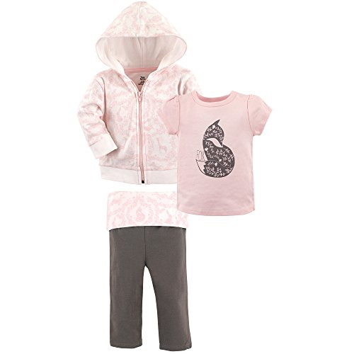 Yoga Sprout Baby 3 Piece Jacket, Top and Pant Set, Pink Fox Toddler, 5