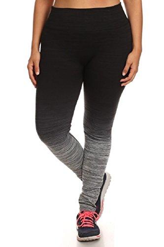 Womens Plus Size Activewear Yoga Ombre Leggings 1X/2X Black/Charcoal
