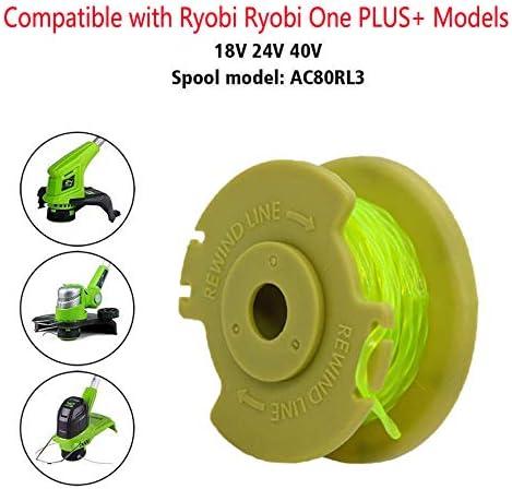 8 carretes Bobina de repuesto para Ryobi de 18 V 24 V y 40 V sin cable de alimentaci/ón autom/ática sin cable de malas hierbas Bobina de repuesto para recortadora de cuerdas 2 tapas.