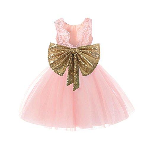 IIYoYo Sleeveless Baby Girls Kids Sequins Big Bowknot Flower Princess Floral Tutu Dresses for Party Wedding