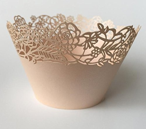12 pcs Petite Fleurs Cupcake Wrappers Wrapper for Standard Size Cupcake Liners (Choose Color) (Rose Gold) (Petite Rose Cup)
