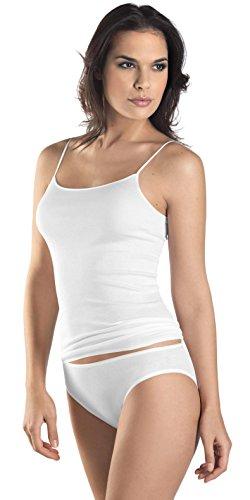 HANRO Women's Cotton Seamless Spaghetti Camisole 71600, White, Small (Hanro Cotton Camisole)