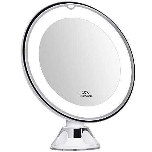 Espejo Para Maquillaje Con Luz Dia Led Aumento 10x 17cm De Diámetro Operado Por Baterías Sujeción Por Succión