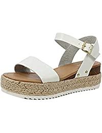 93561c40b29b08 Womens Casual Espadrilles Trim Rubber Sole Flatform Studded Wedge Buckle  Ankle Strap Open Toe Sandals