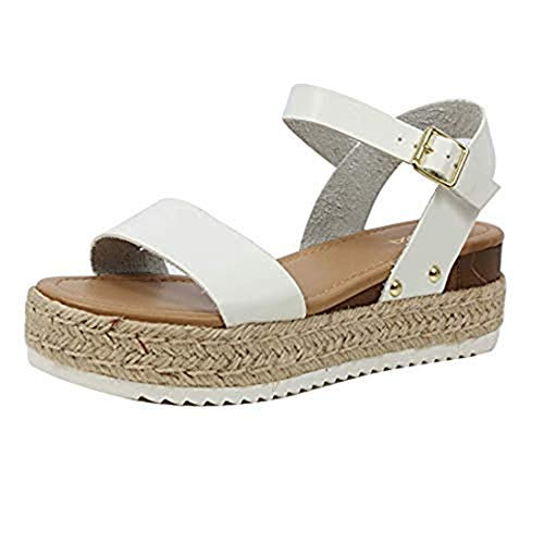 Womens JDTopic2 Casual Espadrilles Trim Rubber Sole Flatform Studded Wedge Buckle Ankle Strap Open Toe Sandals Whiteclp 6.5 M US