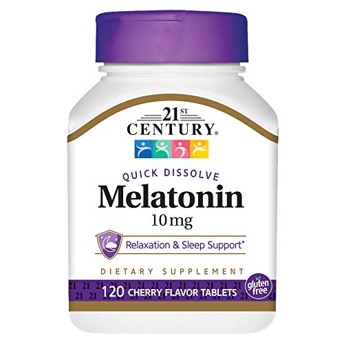 - 21st Century Melatonin Quick Dissolve Tablets, Cherry, 10 mg, 120 Count
