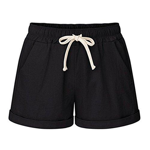 FunkyAmy Womens Solid Drawstring Elastic Waist Cotton Linen Casual Beach Shorts