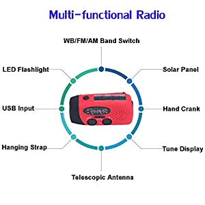 [Upgrade] Tiemahun Emergency Solar Hand Crank Dynamo NOAA WB AM/FM Radio Hurricane Camping Survive Kit with 3-LED Flashlight 1000mAh Power Bank 088FS (Red)