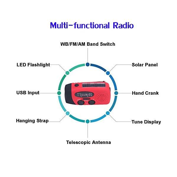 [Upgrade] Tiemahun Emergency Solar Hand Crank Dynamo NOAA WB AM/FM Radio Hurricane Camping Survive Kit with 3-LED Flashlight 1000mAh Power Bank 088FS (Red)