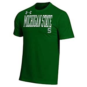 NCAA Michigan State Spartans Men's Under Armour Short Sleeve Charged Cotton Performance Tee, Small, Dark Green