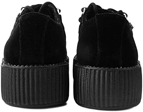 Shoes Hommes Femmes Viva Hi Sole Creeper Noir Daim avec Entrelacer Bleu T.U.K