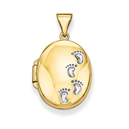 Roy Rose Jewelry 14K Yellow Gold Footprints Locket 25x17mm by Roy Rose Jewelry