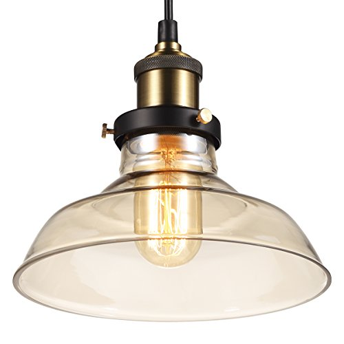 Price comparison product image B-right Adjustable Vintage Glass Hanging Pendant Light,  8-inch Amber Glass Shade,  UL Listed Lamp Holder
