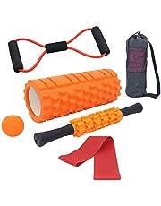 Tallgoo Fasciarol Foam Roller Set 6-in-1, spierroller, touw trekken, fasciarol, fasciarabal, weerstandsbanden en opbergtas, voor fascia-training van de spieren