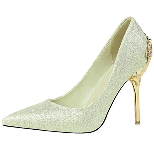 Mashiaoyi Damen Spitze-Zehe Stiletto ohne Verschluss Metall Pumps Gold