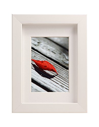 (BorderTrends Echo 5x7/3.5x5-Inch Photo Frame, Simply White with White Mat)