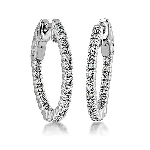 1/2 ct. tw. Round Diamond Hoop Earrings with Click Backs in 14K White Gold - YEAOH9175W-12 ()